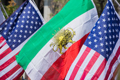 American and Iranian flags at the Norooz Festival and Persian Pa Stock Images
