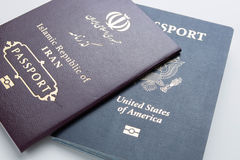 American and Iranian passport Royalty Free Stock Photo