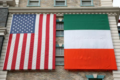 American and Irish flags Royalty Free Stock Photography