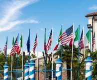 American and Italian Flags in Venice Royalty Free Stock Photography