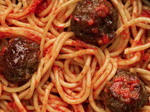 American italian meatball spaghetti food background Stock Photo