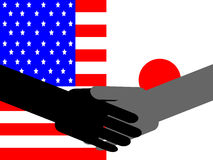 American Japanese handshake Royalty Free Stock Image