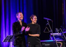 The American jazz vocalist Stacey Kent with her accompanying quartet. Cracow, Poland - April 26, 2018: The performance of the American jazz vocalist Stacey Kent Stock Image