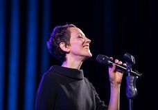 The American jazz vocalist Stacey Kent with her accompanying quartet. Cracow, Poland - April 26, 2018: The performance of the American jazz vocalist Stacey Kent Stock Photos