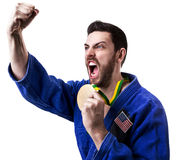 American judoka fighter on white background Royalty Free Stock Image