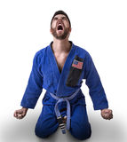American judoka fighter on white background Royalty Free Stock Photography