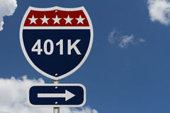 American 401K Highway Road Sign Royalty Free Stock Photography