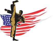 American karate kick. An illustration of a male karate athlete is kicking against an American flag Royalty Free Stock Images