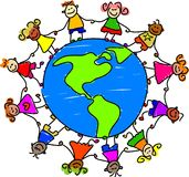 American kids. Diverse little kids holding hands around the globe of America - toddler art series Royalty Free Stock Photo
