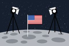 American landing on the Moon as staged scene with light and US flag - United States of America and fake astronautics stock illustration