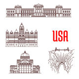 American landmarks and sightseeings icons Stock Image