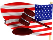 American law. Gavel against background of the U.S. flag. High quality 3d render Stock Image