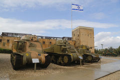 American light tanks on display from the left M3 Grant, M3 Lee and M3A1 Stuart at Yad La-Shiryon Armored Corps  Museum at Latrun Stock Image