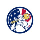 American Locksmith USA Flag Icon. Icon retro style illustration of an American locksmith or key cutter carrying a giant key with United States of America USA Stock Image