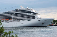 American luxury cruise ship MSC Poesia. Image part of the large and beautiful American luxury cruise ship MSC Poesia Royalty Free Stock Images