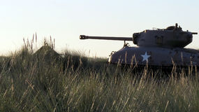 American M4 Sherman tank on a field in the evening Royalty Free Stock Photography