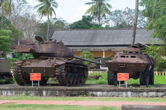 The American M-41 tank and the armored personnel carrier in the city museum. Hue, Vietnam Stock Photo
