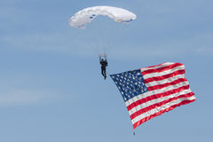 American made american pride. Military Vet parachuting with american flag stock image
