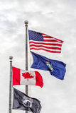 American Maine Canadian and POW Flags Royalty Free Stock Images