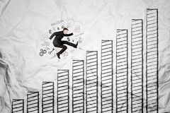 American manager jumping above growth chart Royalty Free Stock Image