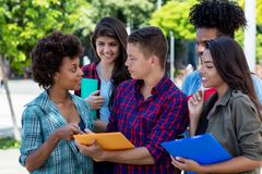 American male student learning with group of latin and african american young adults stock images