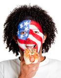 American man eating hotdog Royalty Free Stock Image