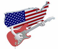 American map with arms that play electric guitar Stock Image