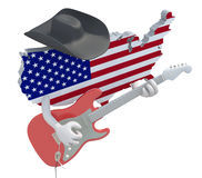 American map with arms that play electric guitar Royalty Free Stock Photos