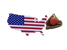 American map with flag, baseball tools and apple. American map with flag, baseball hat, bat, glove and apple, 3d illustration Stock Photo