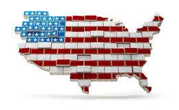 American Map Flag made with bricks. North America map mad as USA flag with bricks to illustrate Immigration`s US Politics since 2017 Royalty Free Stock Photo