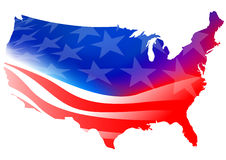 American map flag on a white background Royalty Free Stock Image