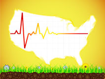 American map with heart pulse stock illustration