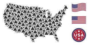 American Map Mosaic of Filled Triangle. Filled triangle items are arranged into American map mosaic. Vector concept of America territory scheme is constructed of stock illustration