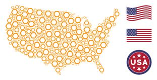American Map Stylization of Contour Hexagon. Contour hexagon symbols are organized into American map collage. Vector composition of USA geographic map is royalty free illustration