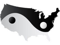 American map yin-yang. American map yin and yang vector illustration Stock Photos