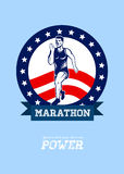 American Marathon Runner Power Poster Stock Photos