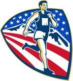 American Marathon Runner Running Retro Royalty Free Stock Image