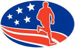 American Marathon runner stars stripes Stock Photos