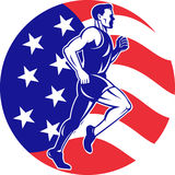 American Marathon runner stars stripes flag Royalty Free Stock Photo
