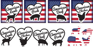 American meat selection of logos, stcikers or nadges Stock Photography