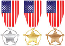 American medal. Silver, bronze and gold Stock Photos