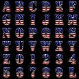 American metal alphabet on black stock images