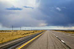 American midwest empty highway under dramatic sky Stock Images