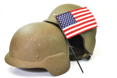 American Military. Military helmets and American flag isolated on white background Royalty Free Stock Image