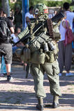 American military with a backpack. Soldier carrying a backpack with combat equipment. ww2 reenactment / american military with a backpack Stock Photo