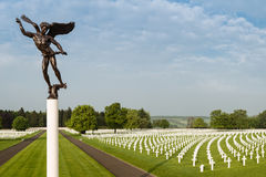 American military cemetery with angel statue Royalty Free Stock Images