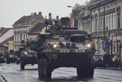 American military convoy pass through Brasov, Romania Stock Images