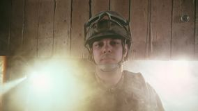 American military. Portrait of soldier in helmet in America. US war. Army usa. American military is looking at the camera close up. Portrait of a soldier in stock footage
