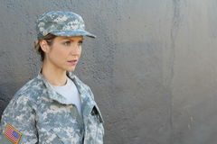 American military servicewoman looking away Stock Images