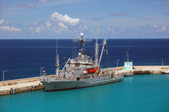 American military ship in the Caribbean water Royalty Free Stock Image